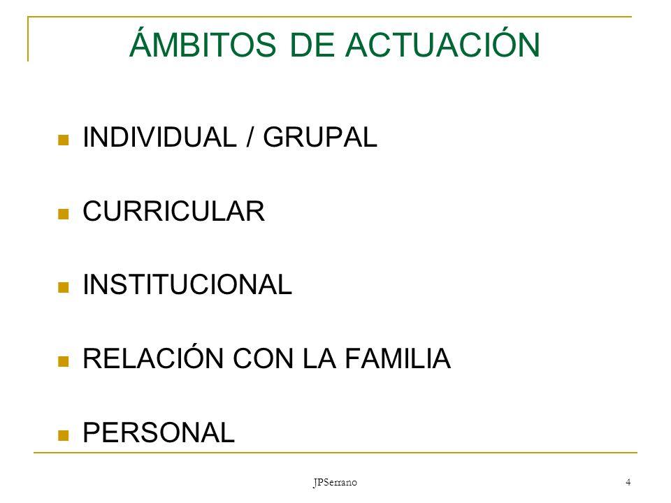 JPSerrano 4 ÁMBITOS DE ACTUACIÓN INDIVIDUAL / GRUPAL CURRICULAR INSTITUCIONAL RELACIÓN CON LA FAMILIA PERSONAL