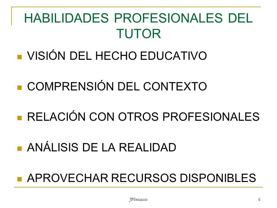 JPSerrano 6 HABILIDADES PROFESIONALES DEL TUTOR VISIÓN DEL HECHO EDUCATIVO COMPRENSIÓN DEL CONTEXTO RELACIÓN CON OTROS PROFESIONALES ANÁLISIS DE LA RE