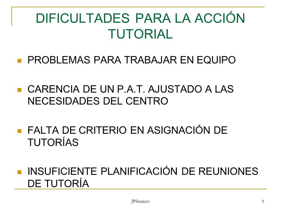 JPSerrano 9 DIFICULTADES PARA LA ACCIÓN TUTORIAL PROBLEMAS PARA TRABAJAR EN EQUIPO CARENCIA DE UN P.A.T. AJUSTADO A LAS NECESIDADES DEL CENTRO FALTA D