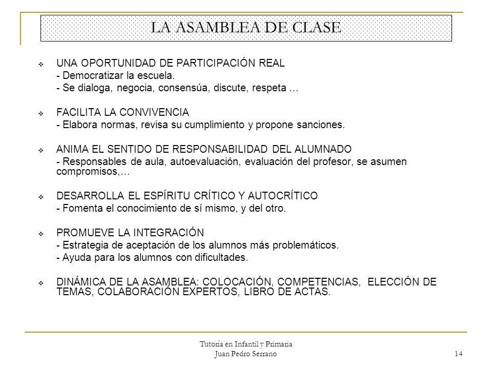Tutoría en Infantil y Primaria Juan Pedro Serrano 14 LA ASAMBLEA DE CLASE UNA OPORTUNIDAD DE PARTICIPACIÓN REAL - Democratizar la escuela. - Se dialog
