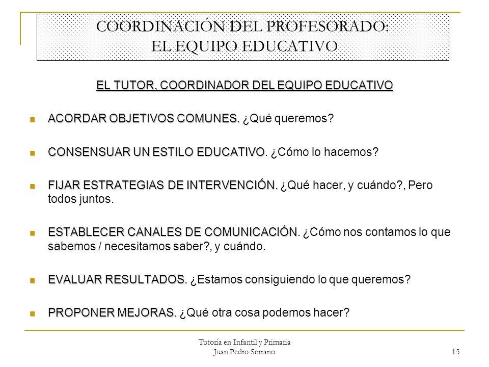 Tutoría en Infantil y Primaria Juan Pedro Serrano 15 COORDINACIÓN DEL PROFESORADO: EL EQUIPO EDUCATIVO EL TUTOR, COORDINADOR DEL EQUIPO EDUCATIVO ACOR