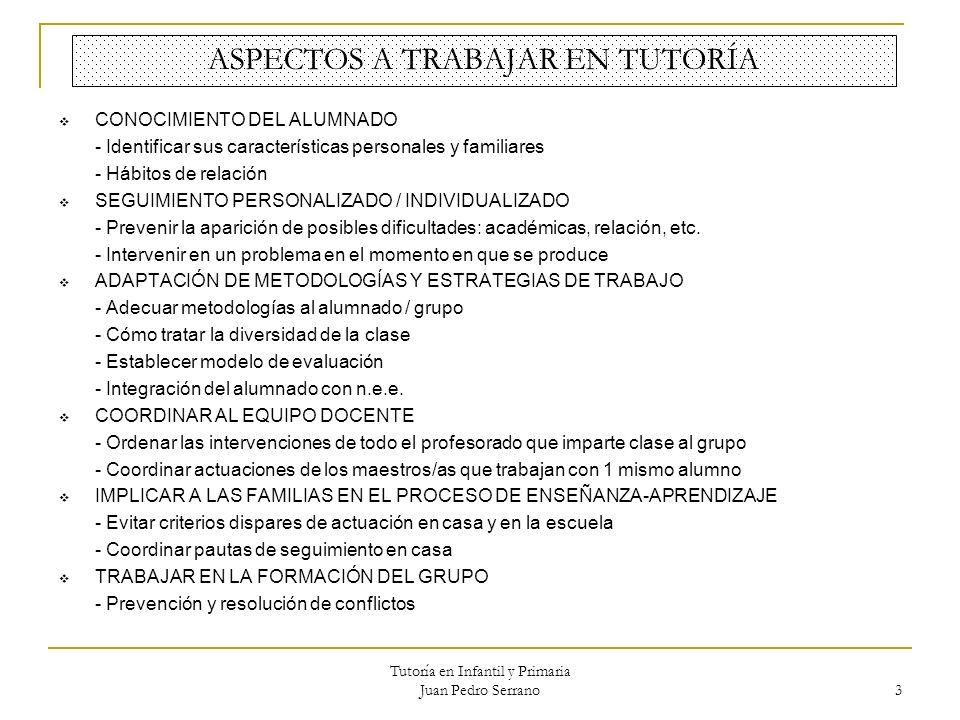 Tutoría en Infantil y Primaria Juan Pedro Serrano 3 ASPECTOS A TRABAJAR EN TUTORÍA CONOCIMIENTO DEL ALUMNADO - Identificar sus características persona