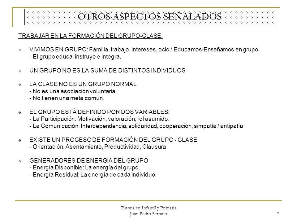 Tutoría en Infantil y Primaria Juan Pedro Serrano 7 OTROS ASPECTOS SEÑALADOS TRABAJAR EN LA FORMACIÓN DEL GRUPO-CLASE: VIVIMOS EN GRUPO: Familia, trab