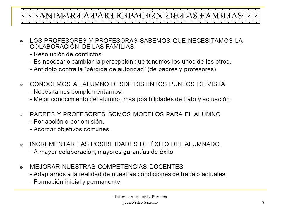 Tutoría en Infantil y Primaria Juan Pedro Serrano 8 ANIMAR LA PARTICIPACIÓN DE LAS FAMILIAS LOS PROFESORES Y PROFESORAS SABEMOS QUE NECESITAMOS LA COL