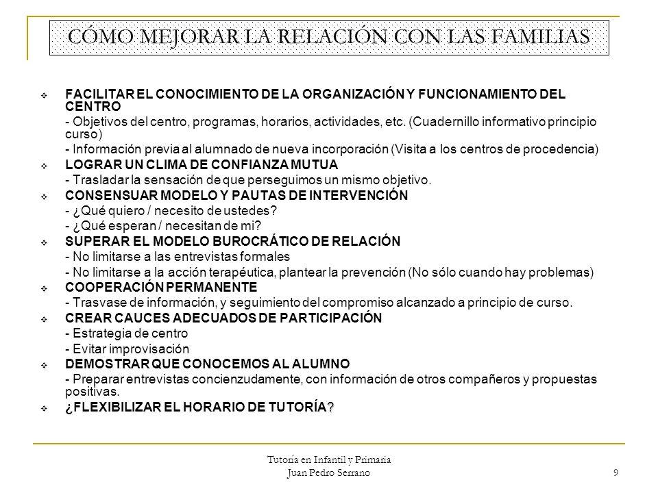 Tutoría en Infantil y Primaria Juan Pedro Serrano 9 CÓMO MEJORAR LA RELACIÓN CON LAS FAMILIAS FACILITAR EL CONOCIMIENTO DE LA ORGANIZACIÓN Y FUNCIONAM