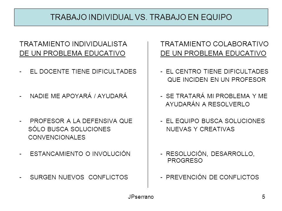 JPserrano5 TRABAJO INDIVIDUAL VS. TRABAJO EN EQUIPO TRATAMIENTO INDIVIDUALISTATRATAMIENTO COLABORATIVODE UN PROBLEMA EDUCATIVO -EL DOCENTE TIENE DIFIC