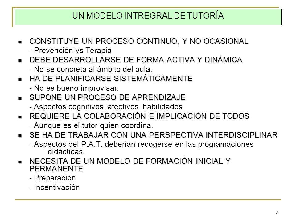 8 UN MODELO INTREGRAL DE TUTORÍA CONSTITUYE UN PROCESO CONTINUO, Y NO OCASIONAL CONSTITUYE UN PROCESO CONTINUO, Y NO OCASIONAL - Prevención vs Terapia