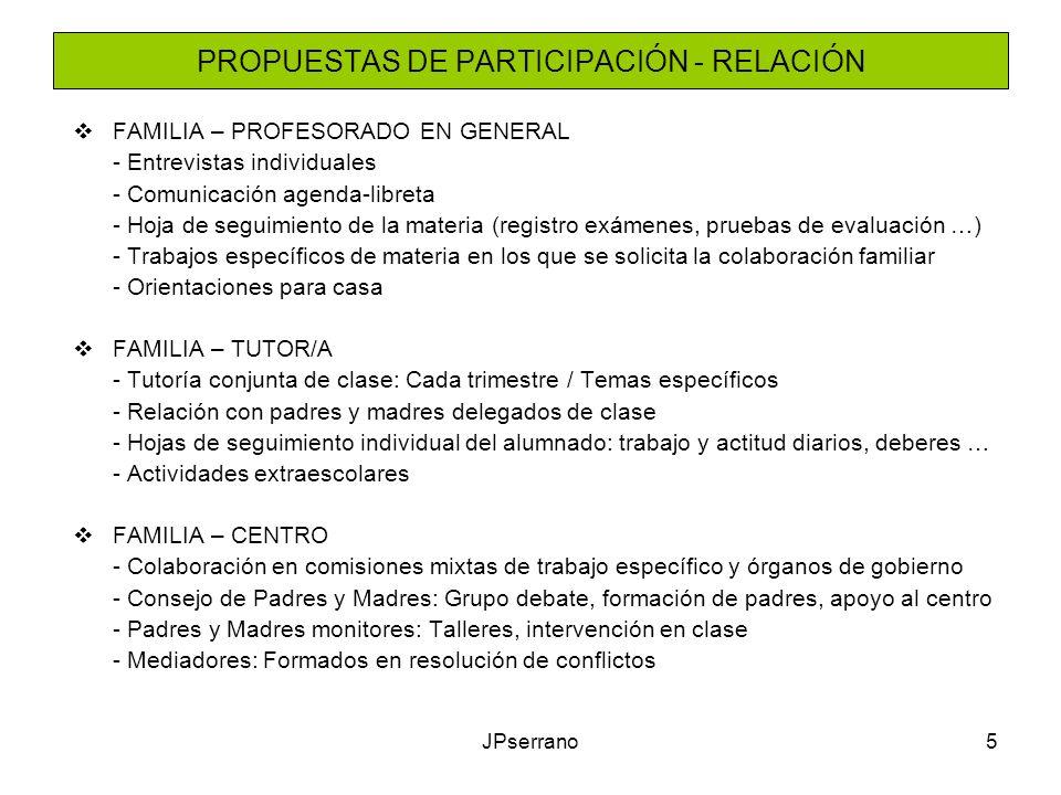JPserrano5 PROPUESTAS DE PARTICIPACIÓN - RELACIÓN FAMILIA – PROFESORADO EN GENERAL - Entrevistas individuales - Comunicación agenda-libreta - Hoja de seguimiento de la materia (registro exámenes, pruebas de evaluación …) - Trabajos específicos de materia en los que se solicita la colaboración familiar - Orientaciones para casa FAMILIA – TUTOR/A - Tutoría conjunta de clase: Cada trimestre / Temas específicos - Relación con padres y madres delegados de clase - Hojas de seguimiento individual del alumnado: trabajo y actitud diarios, deberes … - Actividades extraescolares FAMILIA – CENTRO - Colaboración en comisiones mixtas de trabajo específico y órganos de gobierno - Consejo de Padres y Madres: Grupo debate, formación de padres, apoyo al centro - Padres y Madres monitores: Talleres, intervención en clase - Mediadores: Formados en resolución de conflictos