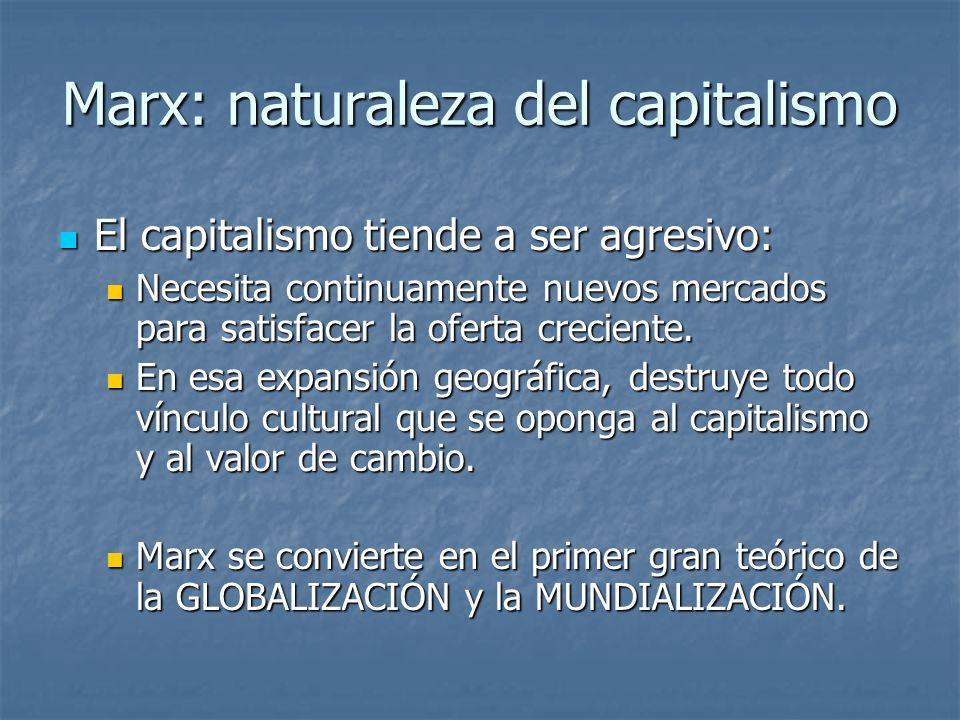 Marx: naturaleza del capitalismo El capitalismo tiende a ser agresivo: El capitalismo tiende a ser agresivo: Necesita continuamente nuevos mercados para satisfacer la oferta creciente.
