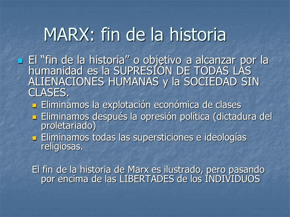 MARX: fin de la historia El fin de la historia o objetivo a alcanzar por la humanidad es la SUPRESIÓN DE TODAS LAS ALIENACIONES HUMANAS y la SOCIEDAD