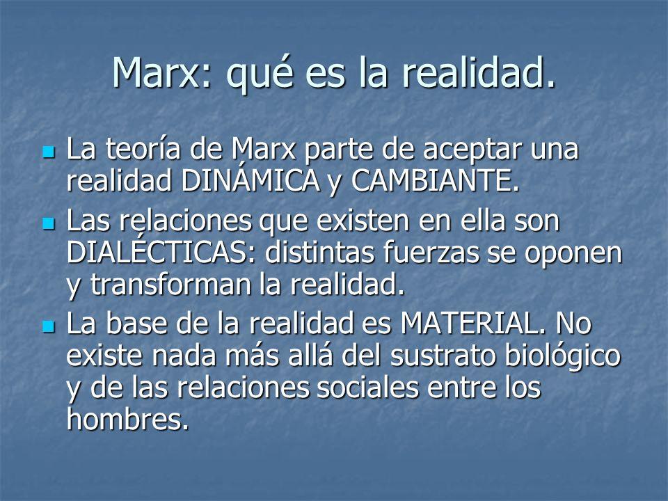 Marx: qué es el hombre El hombre se entiende como SER BIOLÓGICO, material (influencia de Darwin) El hombre se entiende como SER BIOLÓGICO, material (influencia de Darwin) El hombre se define por su TRABAJO, su acción sobre el medio, más allá de su componente racional: esto hace que la ECONOMÍA se convierta en elemento central en el hombre.