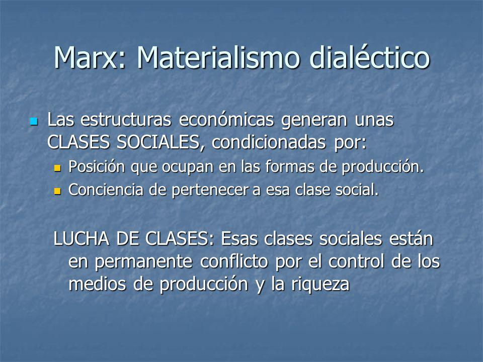 Marx: Materialismo dialéctico Las estructuras económicas generan unas CLASES SOCIALES, condicionadas por: Las estructuras económicas generan unas CLASES SOCIALES, condicionadas por: Posición que ocupan en las formas de producción.