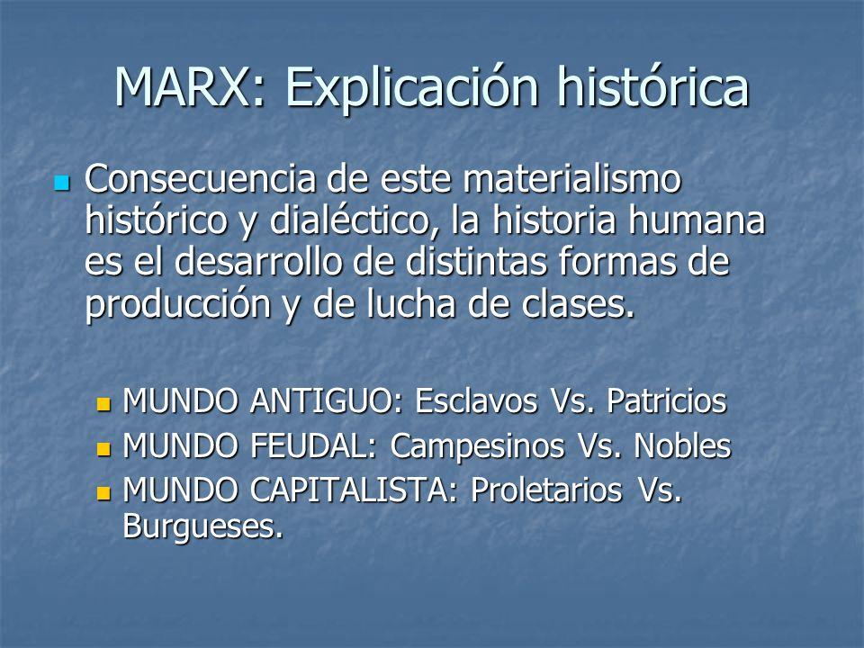 MARX: Explicación histórica Consecuencia de este materialismo histórico y dialéctico, la historia humana es el desarrollo de distintas formas de producción y de lucha de clases.