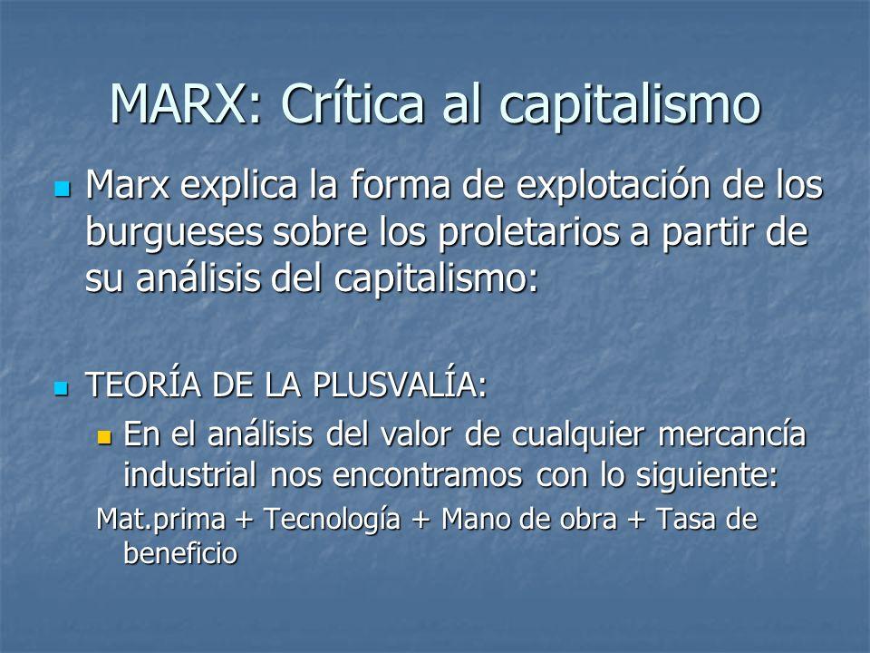 MARX: Crítica al capitalismo Marx explica la forma de explotación de los burgueses sobre los proletarios a partir de su análisis del capitalismo: Marx explica la forma de explotación de los burgueses sobre los proletarios a partir de su análisis del capitalismo: TEORÍA DE LA PLUSVALÍA: TEORÍA DE LA PLUSVALÍA: En el análisis del valor de cualquier mercancía industrial nos encontramos con lo siguiente: En el análisis del valor de cualquier mercancía industrial nos encontramos con lo siguiente: Mat.prima + Tecnología + Mano de obra + Tasa de beneficio