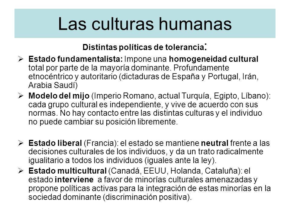 Las culturas humanas Distintas políticas de tolerancia : Estado fundamentalista: Impone una homogeneidad cultural total por parte de la mayoría domina
