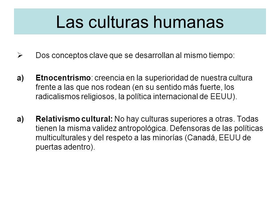 Las culturas humanas Dos conceptos clave que se desarrollan al mismo tiempo: a)Etnocentrismo: creencia en la superioridad de nuestra cultura frente a