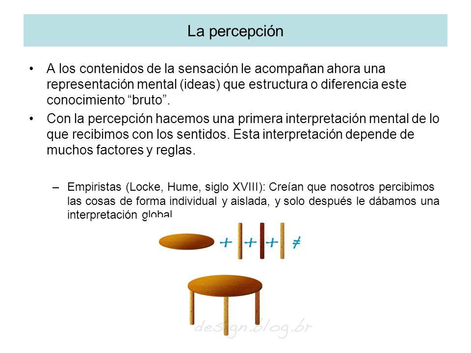 La percepción A los contenidos de la sensación le acompañan ahora una representación mental (ideas) que estructura o diferencia este conocimiento brut