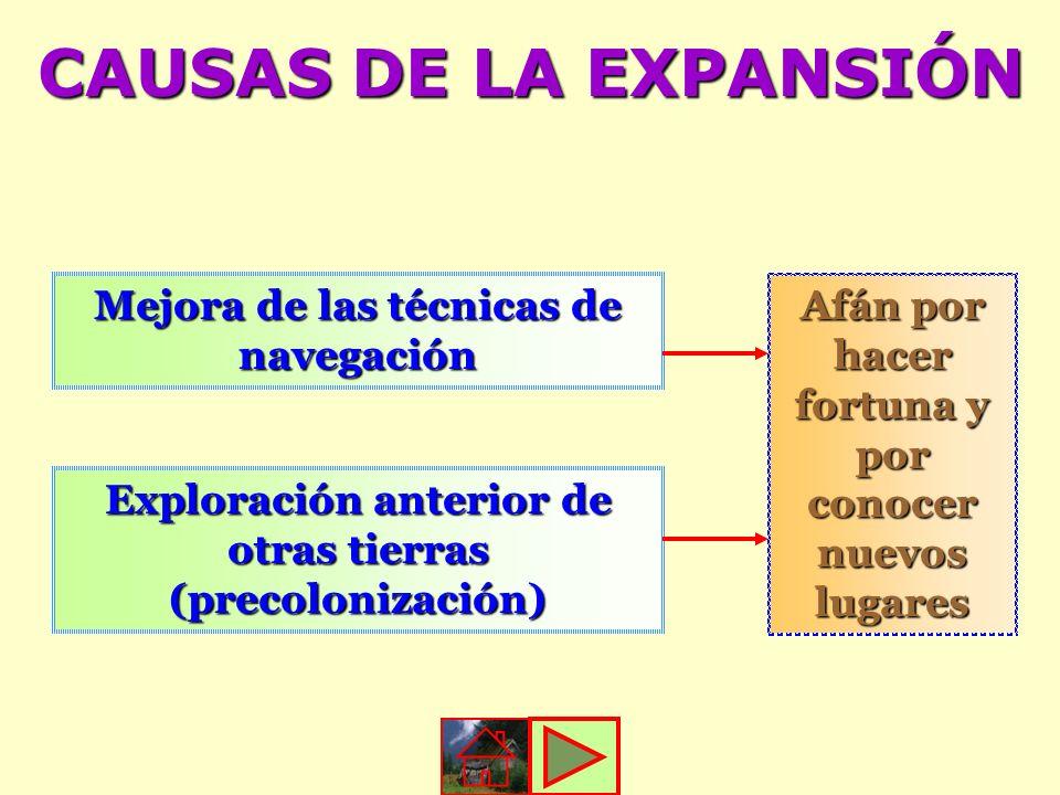 CAUSAS DE LA EXPANSIÓN Mejora de las técnicas de navegación Exploración anterior de otras tierras (precolonización) Afán por hacer fortuna y por conoc