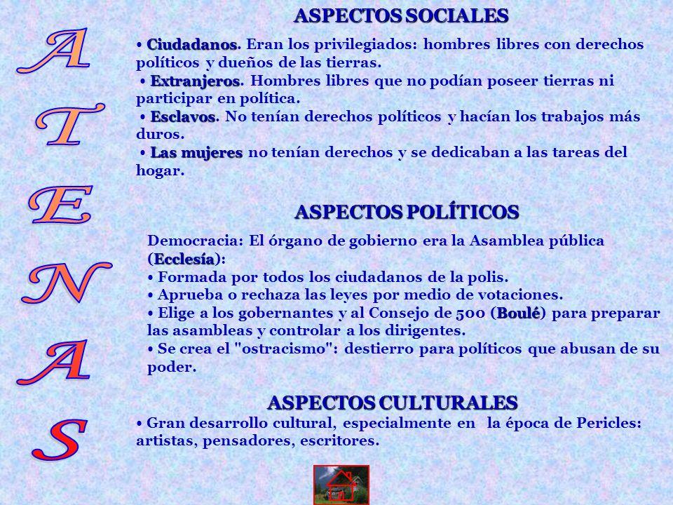 ASPECTOS CULTURALES Gran desarrollo cultural, especialmente en la época de Pericles: artistas, pensadores, escritores. ASPECTOS SOCIALES C CC Ciudadan
