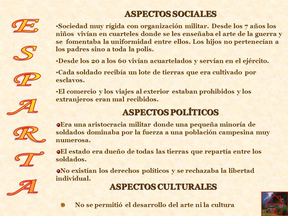ASPECTOS CULTURALES No se permitió el desarrollo del arte ni la cultura ASPECTOS SOCIALES Sociedad muy rígida con organización militar. Desde los 7 añ