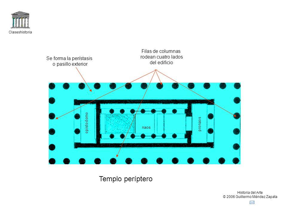 Claseshistoria Historia del Arte © 2006 Guillermo Méndez Zapata Templo períptero Filas de columnas rodean cuatro lados del edificio Se forma la períst