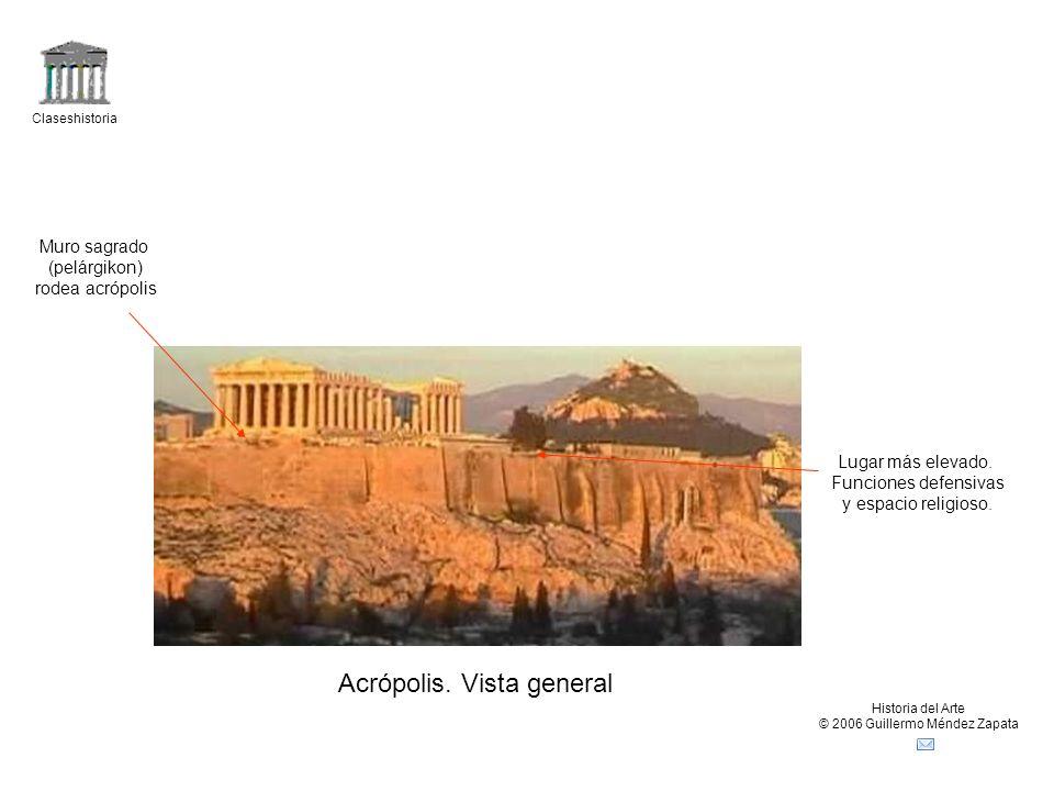 Claseshistoria Historia del Arte © 2006 Guillermo Méndez Zapata Acrópolis. Vista general Lugar más elevado. Funciones defensivas y espacio religioso.