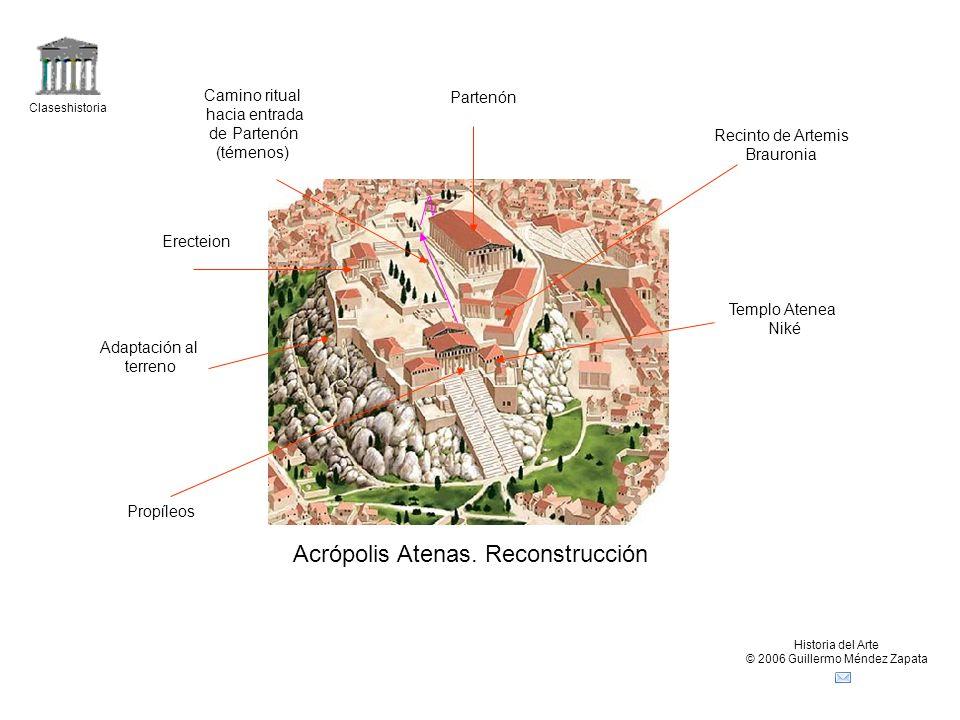 Claseshistoria Historia del Arte © 2006 Guillermo Méndez Zapata Acrópolis Atenas. Reconstrucción Partenón Erecteion Propíleos Templo Atenea Niké Recin