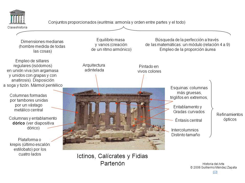 Claseshistoria Historia del Arte © 2006 Guillermo Méndez Zapata Conjuntos proporcionados (euritmia: armonía y orden entre partes y el todo) Dimensione