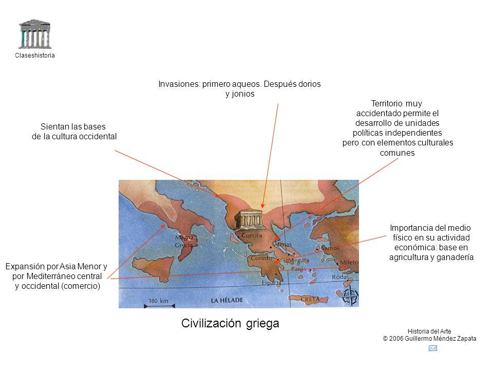 Claseshistoria Historia del Arte © 2006 Guillermo Méndez Zapata Civilización griega Invasiones: primero aqueos. Después dorios y jonios Territorio muy