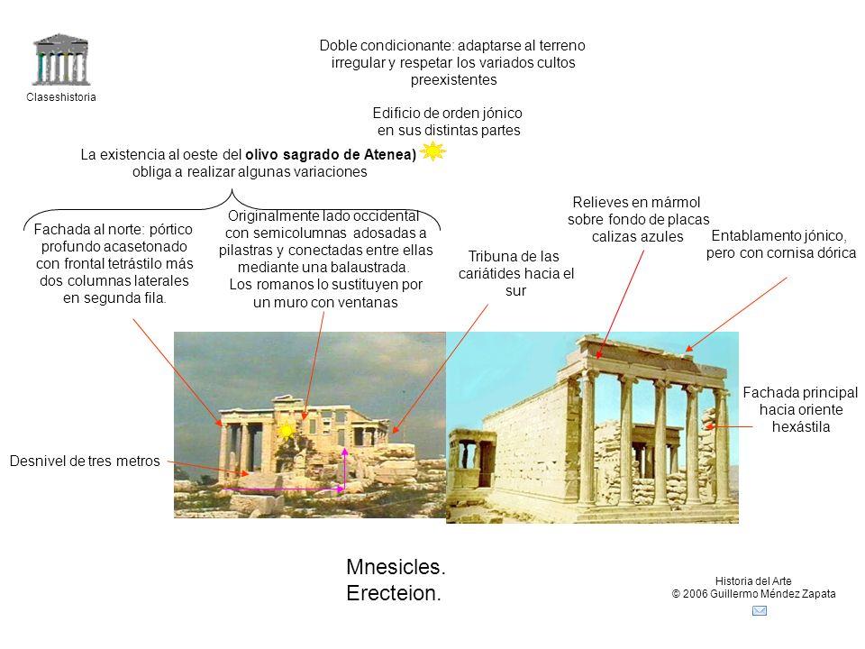 Claseshistoria Historia del Arte © 2006 Guillermo Méndez Zapata Mnesicles. Erecteion. Doble condicionante: adaptarse al terreno irregular y respetar l