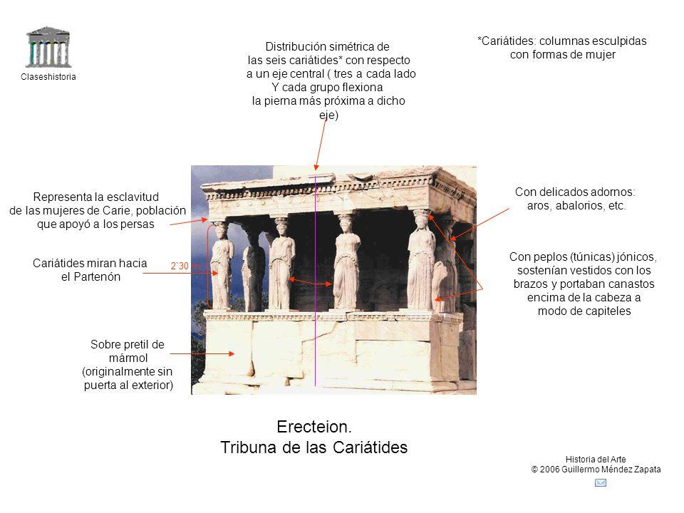 Claseshistoria Historia del Arte © 2006 Guillermo Méndez Zapata Erecteion. Tribuna de las Cariátides Distribución simétrica de las seis cariátides* co