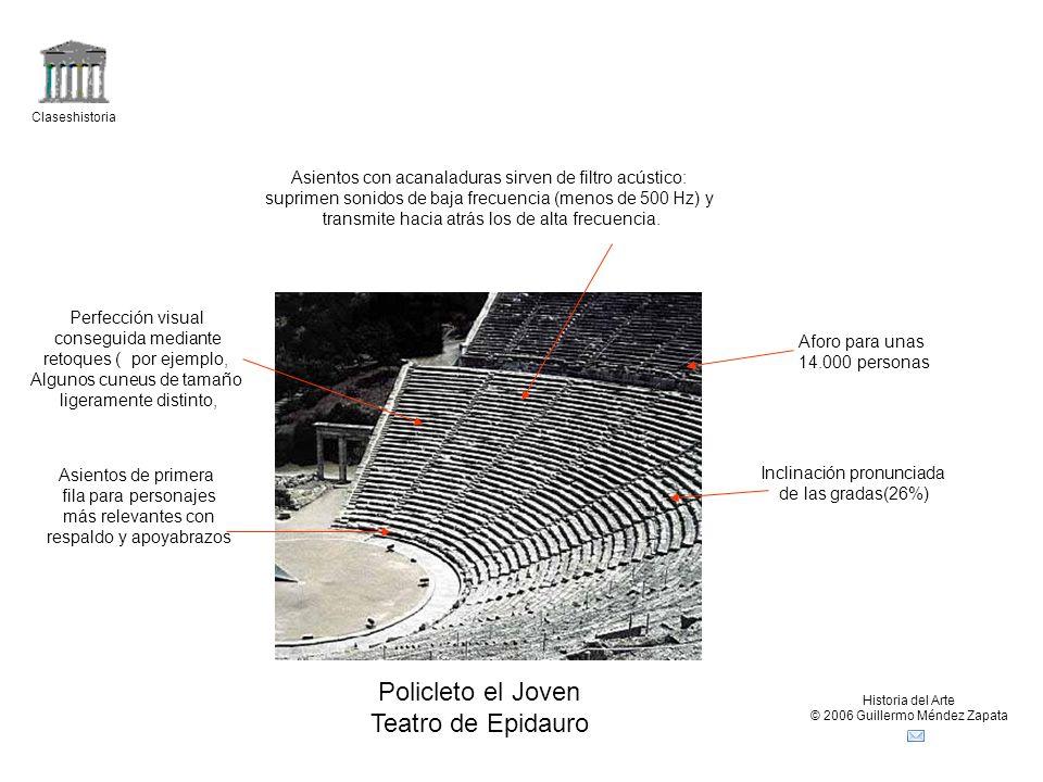 Claseshistoria Historia del Arte © 2006 Guillermo Méndez Zapata Policleto el Joven Teatro de Epidauro Asientos de primera fila para personajes más rel