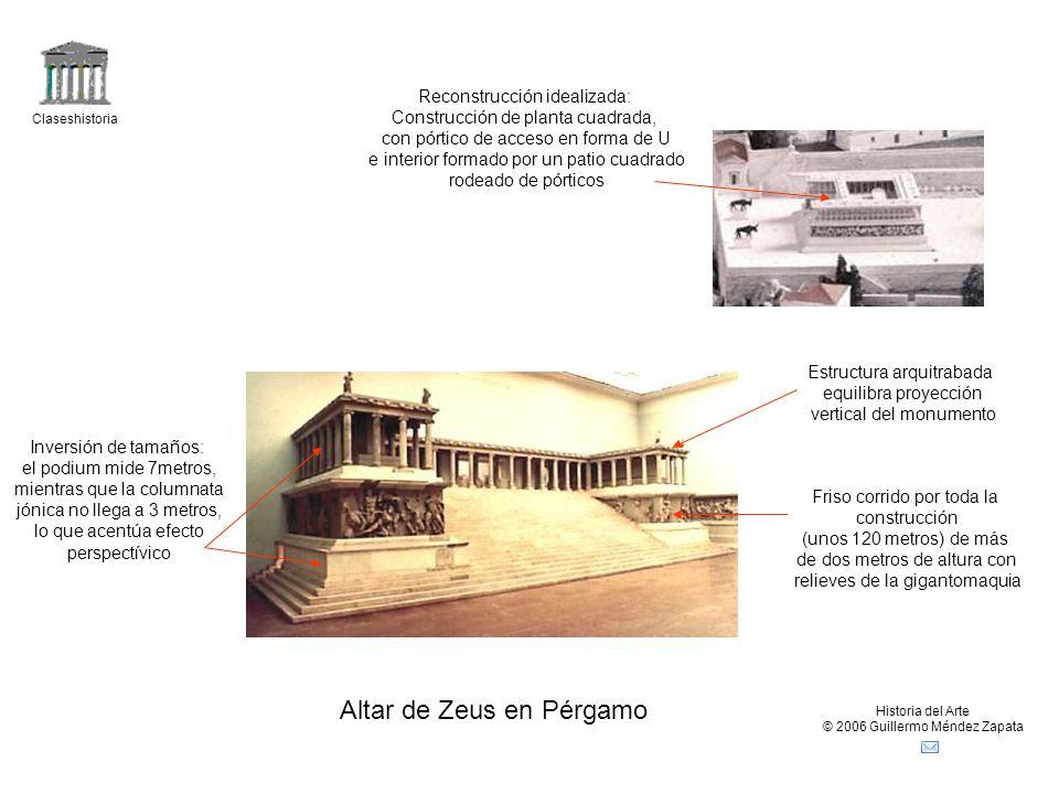 Claseshistoria Historia del Arte © 2006 Guillermo Méndez Zapata Altar de Zeus en Pérgamo Reconstrucción idealizada: Construcción de planta cuadrada, c