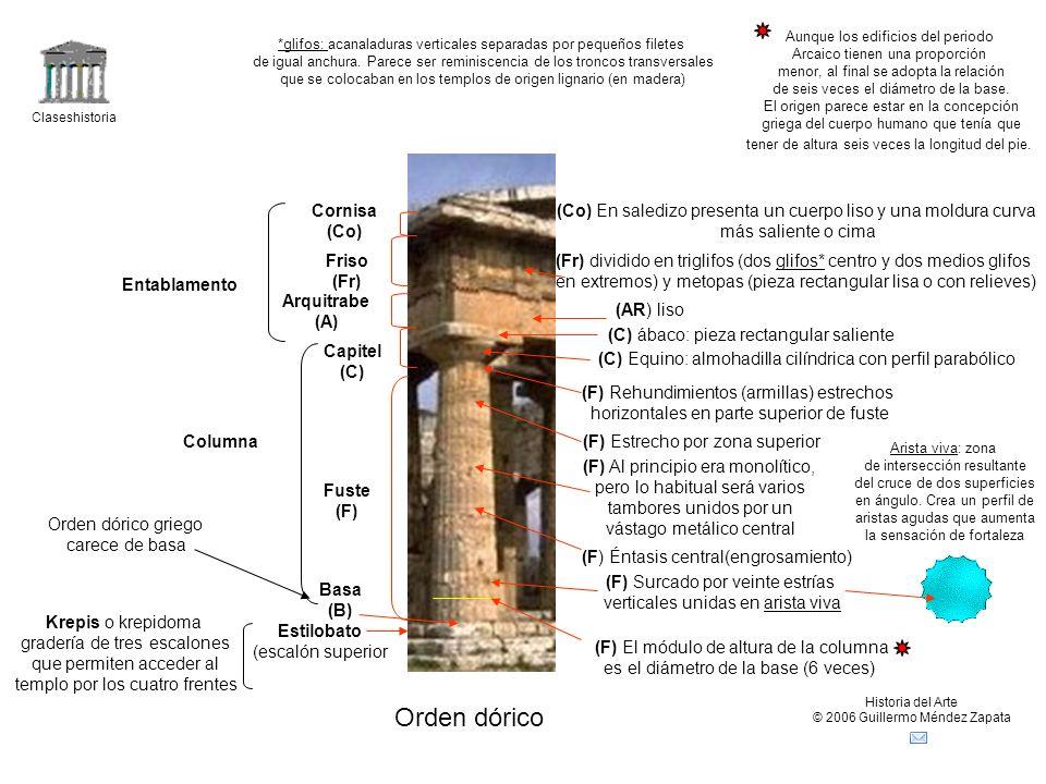 Claseshistoria Historia del Arte © 2006 Guillermo Méndez Zapata Orden dórico Krepis o krepidoma gradería de tres escalones que permiten acceder al tem