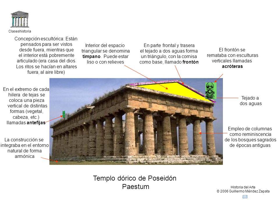 Claseshistoria Historia del Arte © 2006 Guillermo Méndez Zapata Templo dórico de Poseidón Paestum Tejado a dos aguas En parte frontal y trasera el tej