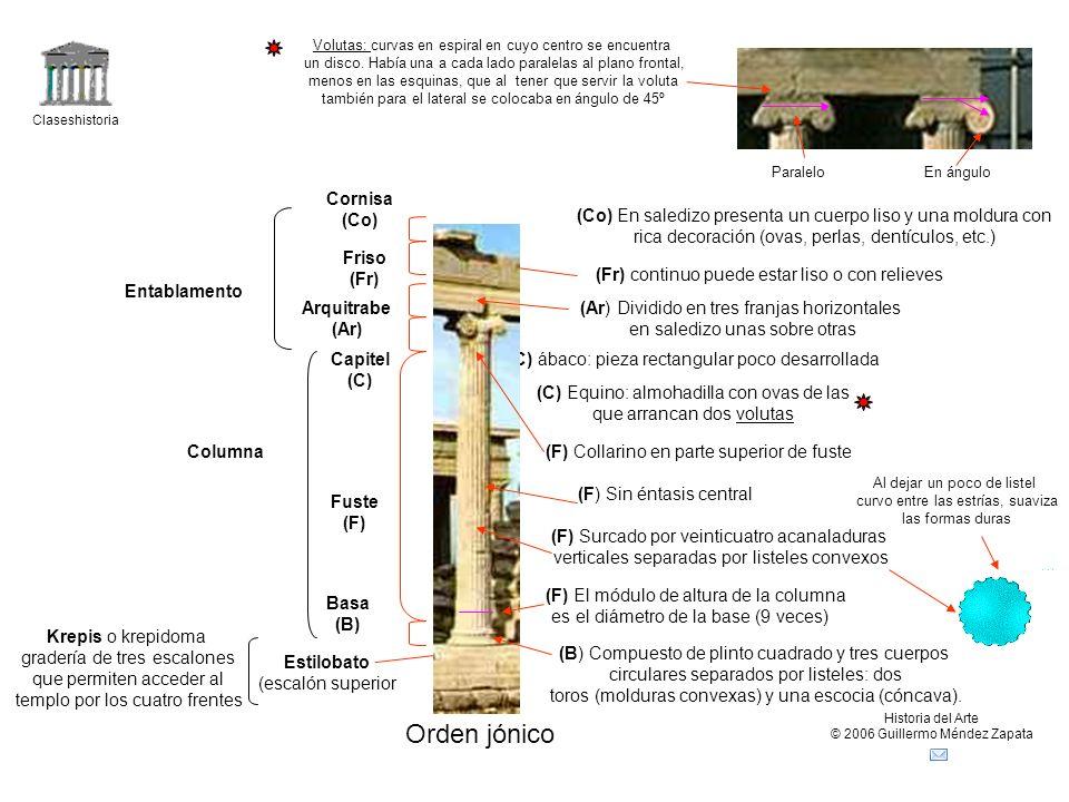Claseshistoria Historia del Arte © 2006 Guillermo Méndez Zapata Orden jónico Krepis o krepidoma gradería de tres escalones que permiten acceder al tem