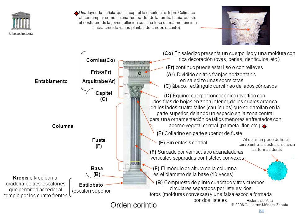 Claseshistoria Historia del Arte © 2006 Guillermo Méndez Zapata Orden corintio Krepis o krepidoma gradería de tres escalones que permiten acceder al t