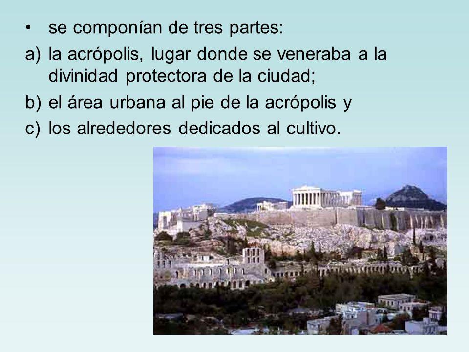 se componían de tres partes: a)la acrópolis, lugar donde se veneraba a la divinidad protectora de la ciudad; b)el área urbana al pie de la acrópolis y