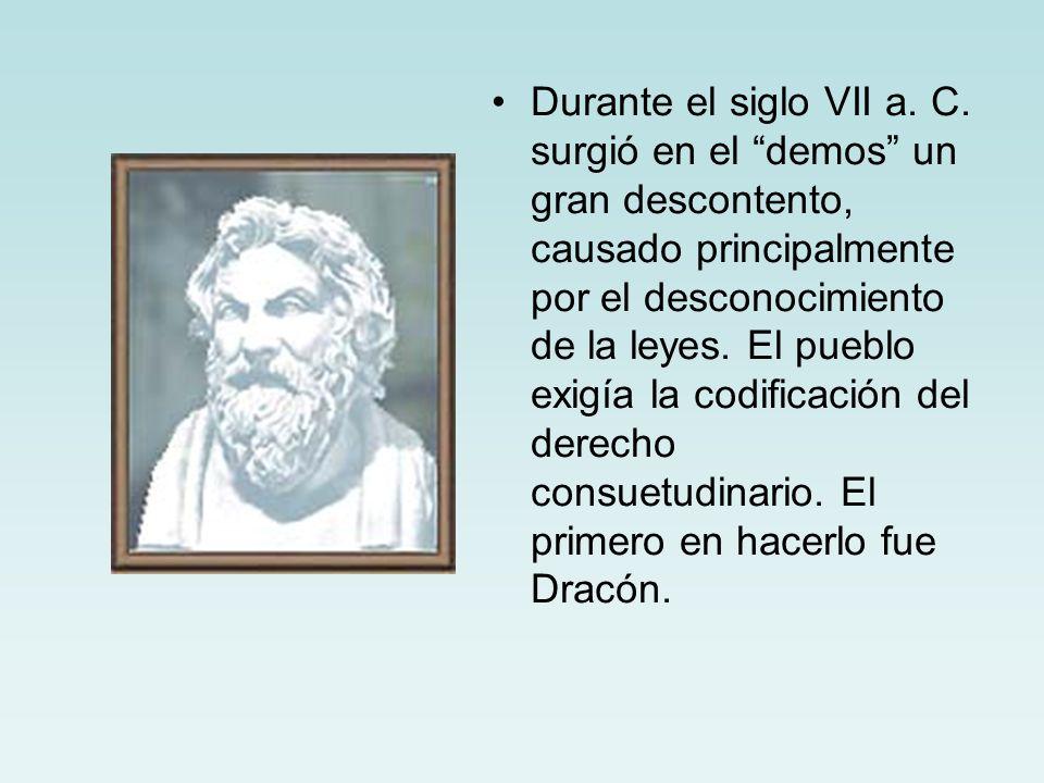 Durante el siglo VII a. C. surgió en el demos un gran descontento, causado principalmente por el desconocimiento de la leyes. El pueblo exigía la codi
