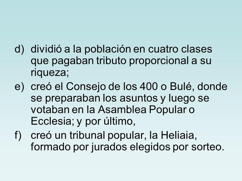 d)dividió a la población en cuatro clases que pagaban tributo proporcional a su riqueza; e)creó el Consejo de los 400 o Bulé, donde se preparaban los