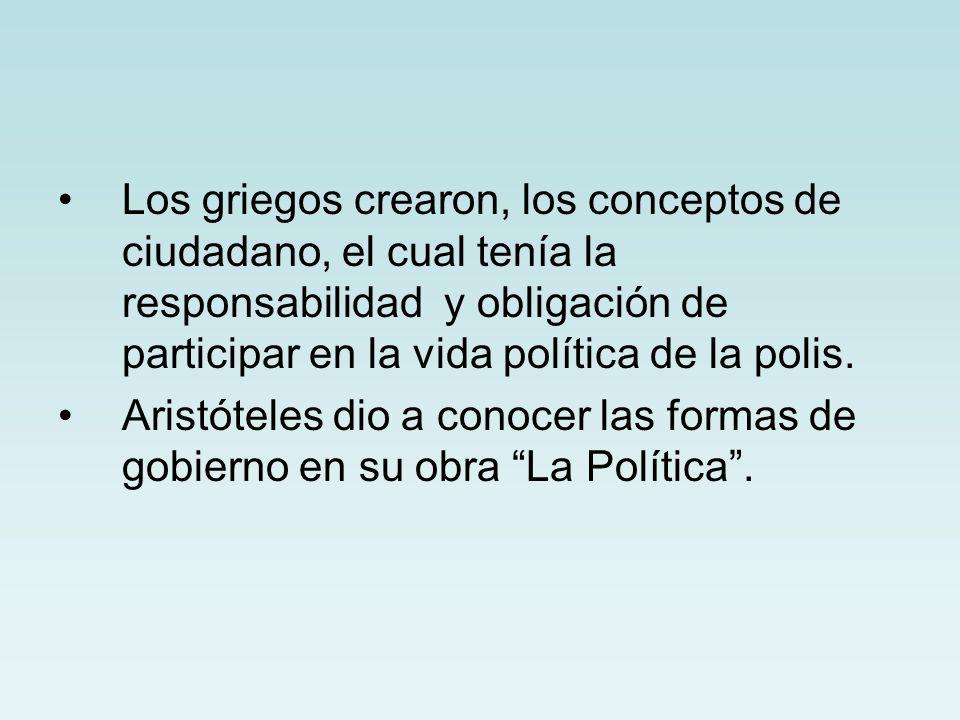 Los griegos crearon, los conceptos de ciudadano, el cual tenía la responsabilidad y obligación de participar en la vida política de la polis. Aristóte