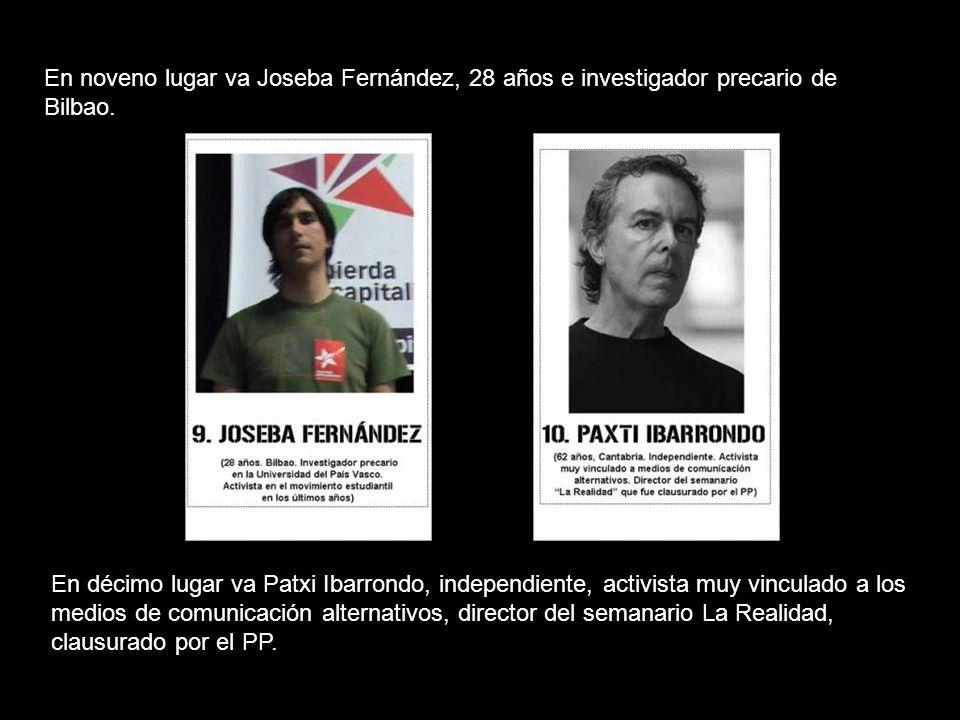 En octavo lugar va Alberto Arce, asturiano independiente, periodista que fue el único testimonio español en Gaza durante la masacre y autor de varios documentales.