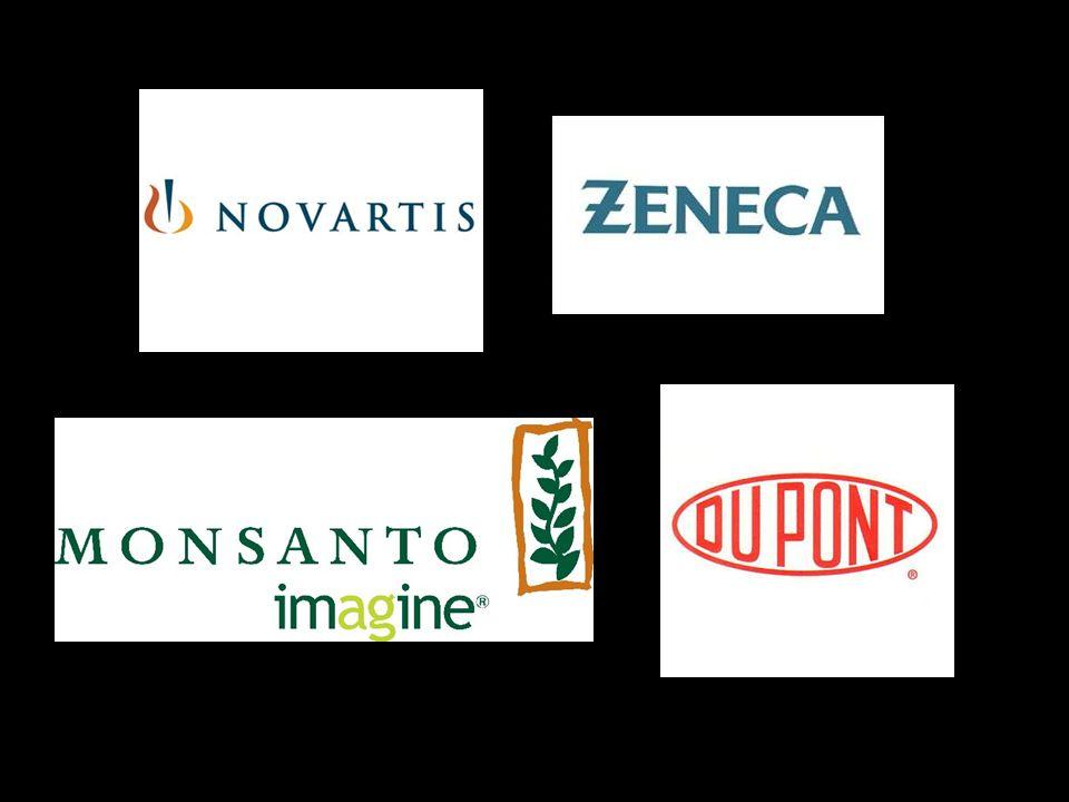 Entre las grandes empresas multinacionales o globales que fabrican Organismos Genéticamente Manipulados ( O.G.M.) podemos citar las cinco principales, que son :cinco principales NOVARTIS (resultado de una fusión de CIBA-GEIGY y SANDOZ), MONSANTO (un milagro en la bolsa económica: sus acciones tenían un valor de 11.5 dólares en 1994, y subieron a 45 dólares 1997; a fecha 9 de mayo 2008, la cotización es 119,71$ ), cotización ZENECA (grupo agroquímico y farmacéutico), AGROEVO (tiene el control de PLANT GENETIC SYSTEMS), y DUPONT (ha adquirido recientemente las empresas AMERICAN PIONEER HI- BREED INTERNATIONAL, y TECHNOLOGIES INTERNACIONAL).