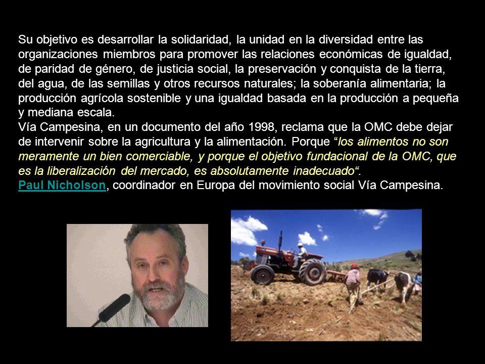 La Vía Campesina es un movimiento internacional de campesinos y campesinas, pequeños y medianos productores, mujeres rurales, indígenas, gente sin tierra, jóvenes rurales y trabajadores agrícolas.