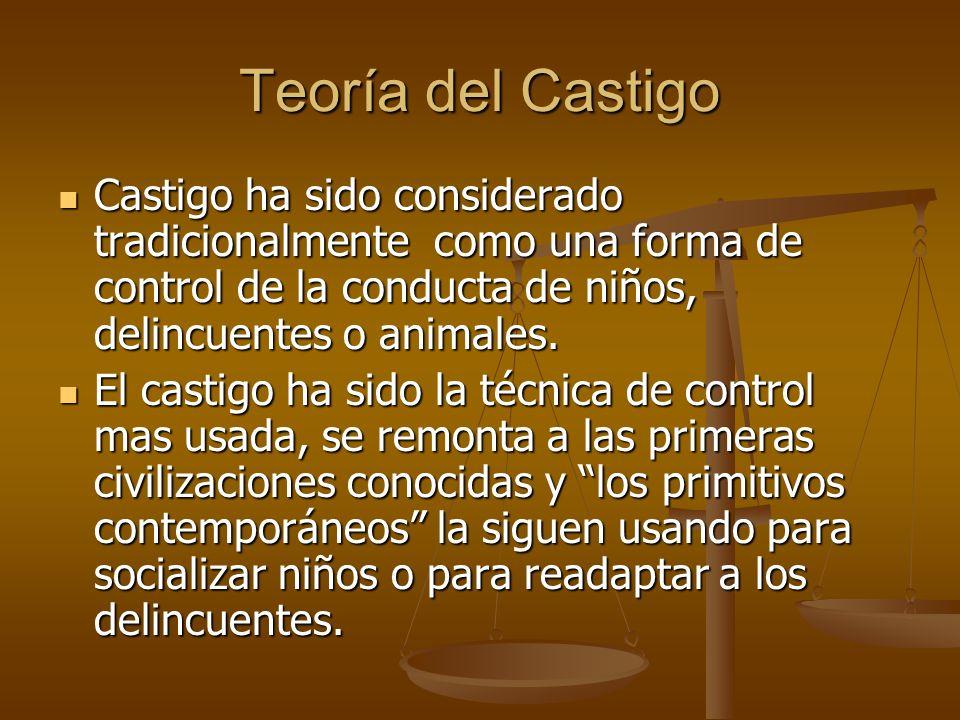 Teoría del Castigo Castigo ha sido considerado tradicionalmente como una forma de control de la conducta de niños, delincuentes o animales. Castigo ha