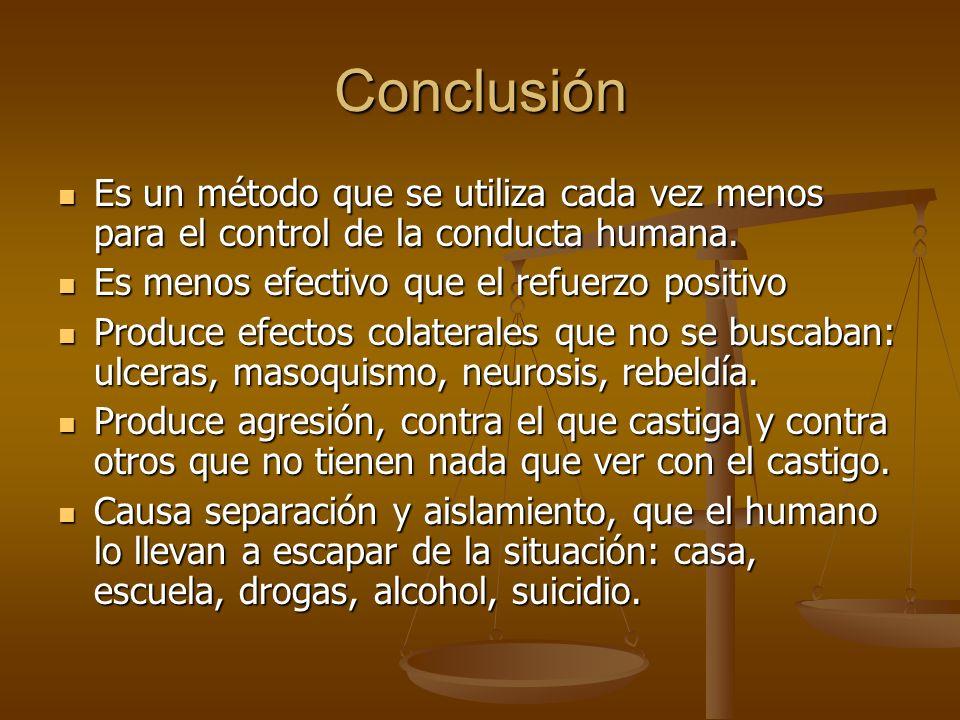 Conclusión Es un método que se utiliza cada vez menos para el control de la conducta humana. Es un método que se utiliza cada vez menos para el contro