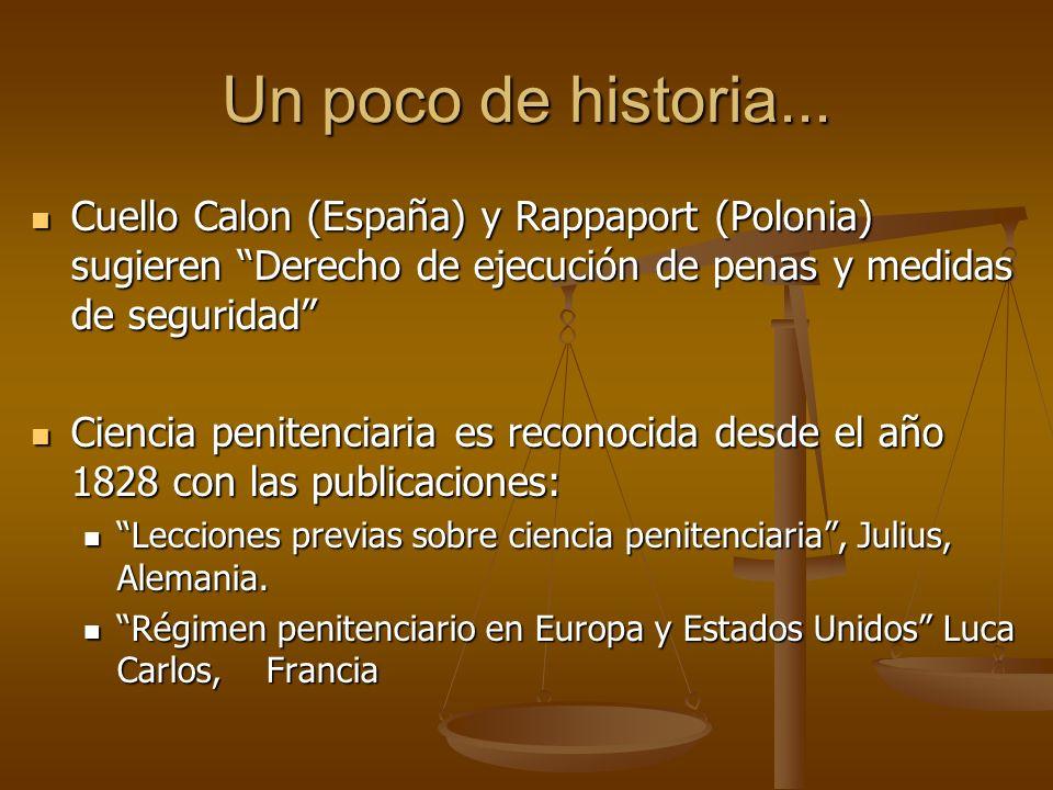 Un poco de historia... Cuello Calon (España) y Rappaport (Polonia) sugieren Derecho de ejecución de penas y medidas de seguridad Cuello Calon (España)