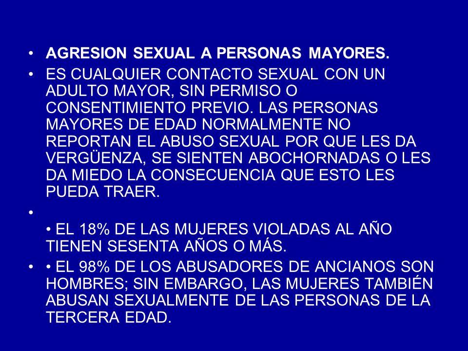 CASI EL 12.2% DE LAS PERSONAS DE LA TERCERA EDAD QUE FUERON AGREDIDAS SEXUALMENTE FUERON ABUSADAS EN SU HOGAR; 2.4% FUERON ABUSADAS EN UNA RESIDENCIA DE CUIDADO DE ANCIANOS; 70.7% FUERON ABUSADAS EN UN HOGAR PARA PERSONAS MAYORES; Y EL 14.6% DE LAS VÍCTIMAS DE MAYOR EDAD FUERON ABUSADAS/OS EN EL HOGAR DEL AGRESOR.