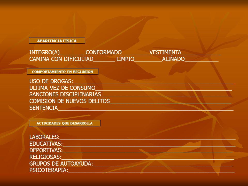 APARIENCIA FISICA INTEGRO(A)________ CONFORMADO_________VESTIMENTA_____________ CAMINA CON DIFICULTAD_______ LIMPIO_________ALIÑADO___________ COMPORT