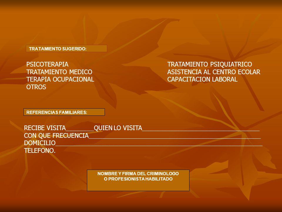 TRATAMIENTO SUGERIDO: PSICOTERAPIATRATAMIENTO PSIQUIATRICO TRATAMIENTO MEDICOASISTENCIA AL CENTRO ECOLAR TERAPIA OCUPACIONALCAPACITACION LABORAL OTROS